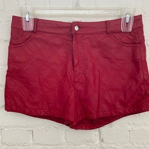 Forever 21 Red Faux Leather Shorts